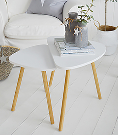 Bethel Cove white nest of tables, coffee table for living room furniture in New England, Coastal, Country and White interiors