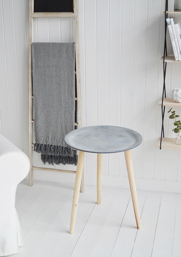 Boston Bohemian tripod slate side table for scandinavian and New England living room furniture