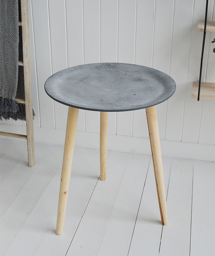 Boston Bohemian tripod slate bedside table for scandinavian and New England bedroom furniture