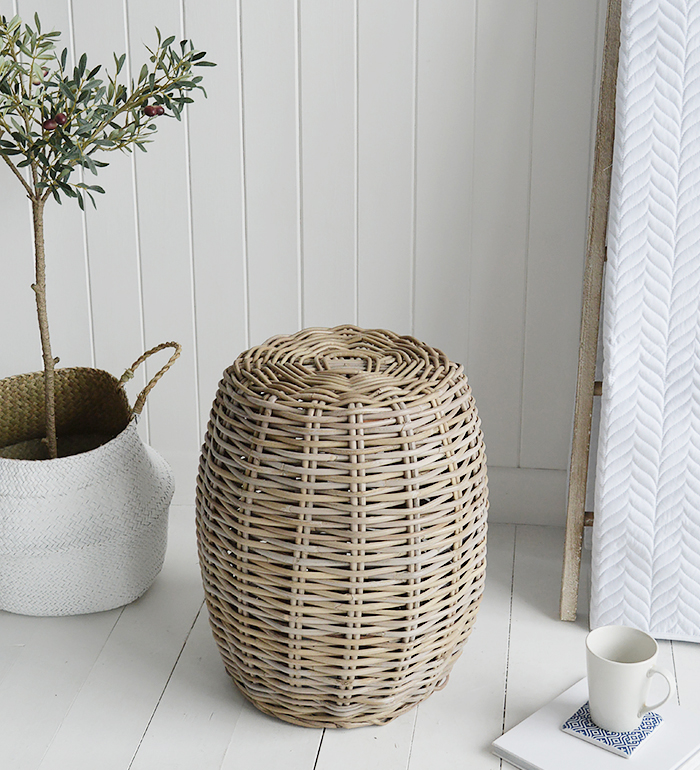 Casco Bay willow seat stool side table for bcoastal bedrooms