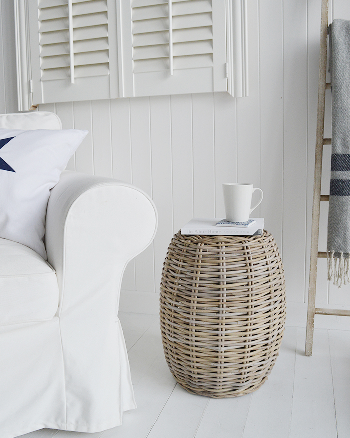 The Casco Bay grey willow side table adds plenty of warmth to a living room form the natural materials