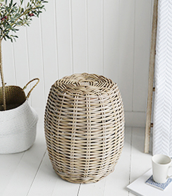 Casco Bay Grey Willow Seat Stool to add warmth and texture for coastal and New England interiors and furniture