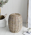 Casco Bay grey willow seat stool table for coastal and New England Interior Furniture