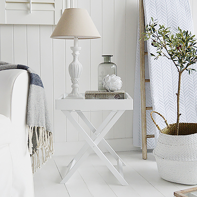 Connecticut white folding tray table for small living rooms