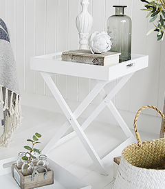Connecticut white folding tray table for bedside to lamp table in bedroom and living room