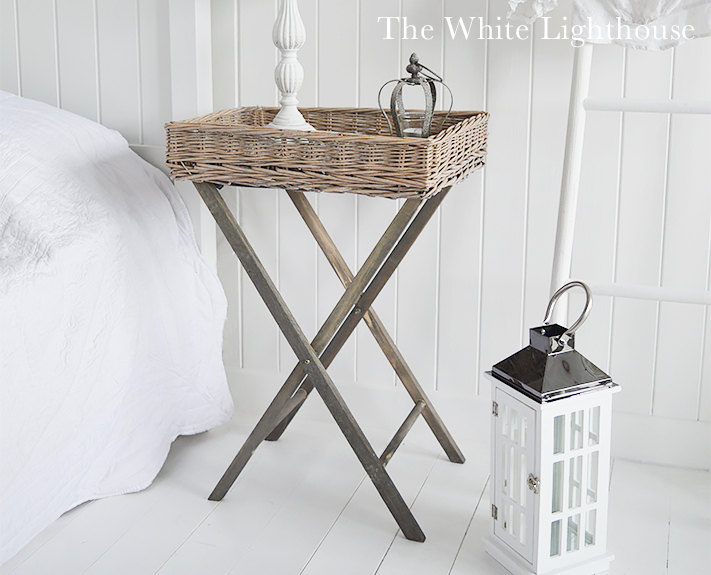 Cornwall grey folding side table willow from The White Lighthouse Coastal Country New England and Scandi bedroom interiors