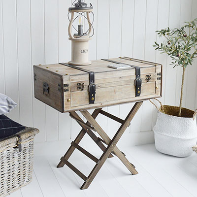 Deerfield wooden suitcase table for New England furniture for homes in the country, by the coast and in the city