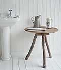 Driftwood rustic side table for coastal New England bathroom  furniture