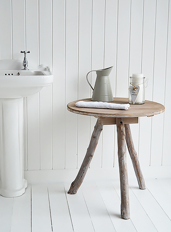 Driftwood tripod table for bathroom furniture
