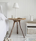 Driftwood rustic bedside table for coastal bedroom furniture interiors