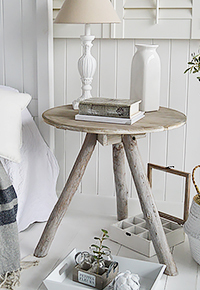 Driftwood rustic bedside table for coastal interiors furniture