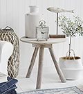 Driftwood rustic side table for coastal New England hall furniture