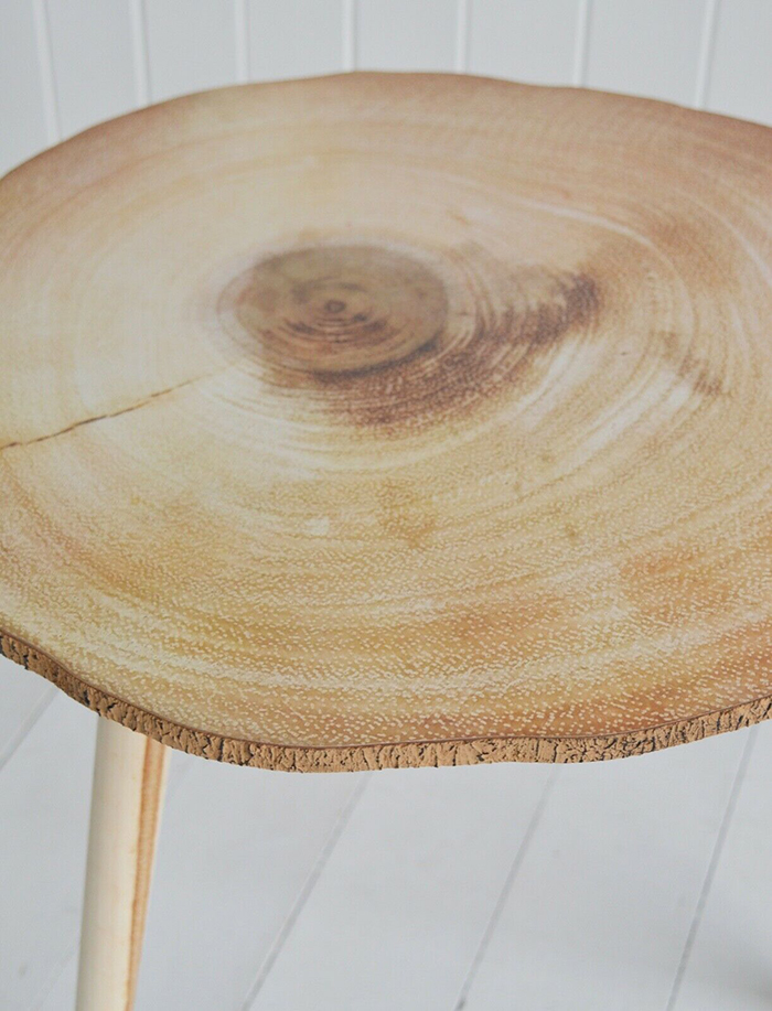Hartford scandi nordic style side lamp table clos up of sliced tree trunk effect top