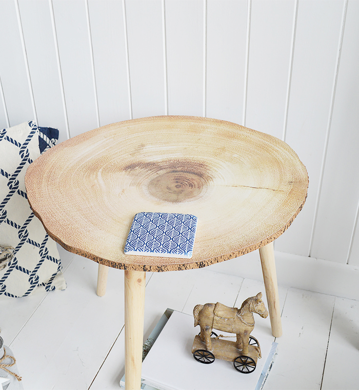 The White Lighthouse Coastal, Scandinavian, Country Coastal and New England Furniture - Hartfor Tree Trunk Tabl