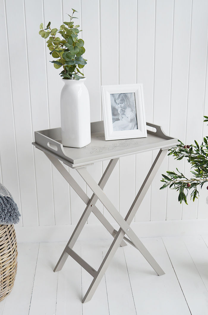 The Harvard folding tray table is a delightful addition to any bedroom as a bedside table. Ideal for all country, town, coastal and New England styled home interiors for bedroom, living room and hallway furniture