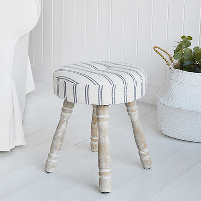 Long Island ticking fabric milking stool