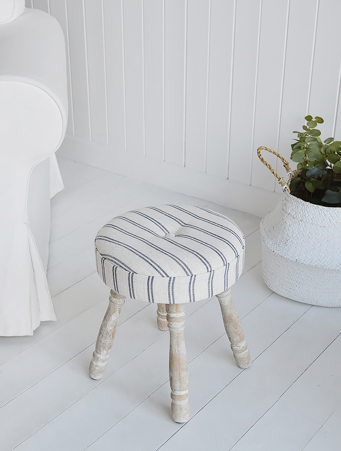 Long Island small stool or foot stool for country and coastal living room furniture