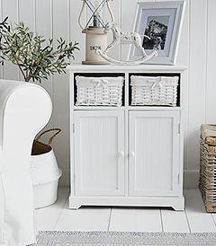 Maine white furniture, a white sideboard with a large cupboard and drawers for New England Furniture