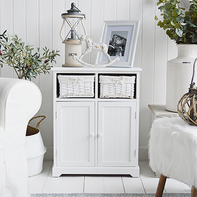 Maine white sideboard cupboard for pure white living room furniture