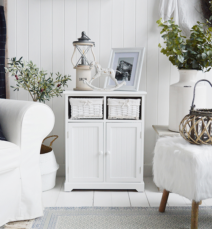 White furniture for the living room. Maine white sideboard with large cupboard and two basket drawers for New England, country and coastal furniture