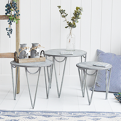 The Bethel Cove simple nest of 3 tables or white coffee table from The White Lighthouse New England Coastal and Country furniture and interiors. Bathroom, Living Room, Bedroom and Hallway Furniture for beautiful homes