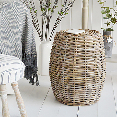 Casco Bay grey willow seat or stool. Natural materials to add a touch of warmth to your living room