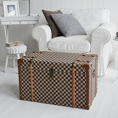 Panama vintage style trunk from The White Lighthouse Furniture and Home Interiors for New England, country, coastal and city homes for hallway, living room, bedroom and bathroom