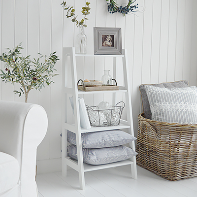 The Patten white shelf unit with four shelves for living room furniture in New England country, coastal and city home interiors