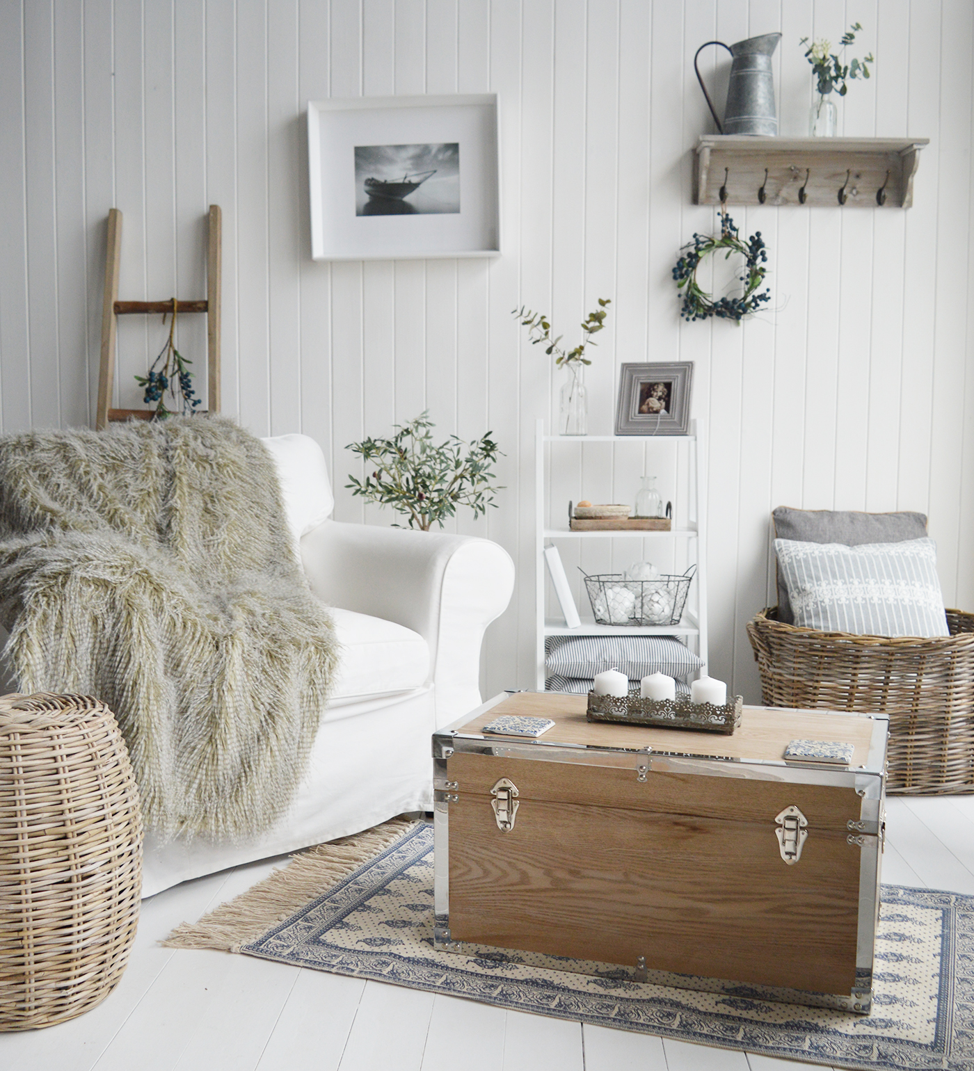 The White Lighthouse. New England Style White Furniture and accessories for the home. Speckled luxury faux fur throw blandket bedspread