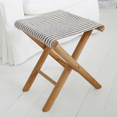 Peabody stripped wooden and fabric stool