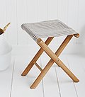 Peabody small folding stool in blacbk and white stripes
