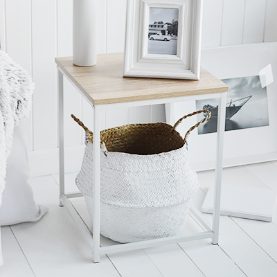 Southampton white bedside table for white bedroom furniture. New England styled interiors for country, coastal and city homes. Here we have placed our distressed white crown under for texture