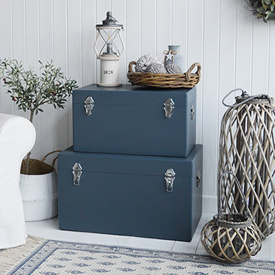 Set of 2 rectangle blue grey storage trunks