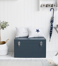 Newbury Storage bench for hallway furniture in blue grey