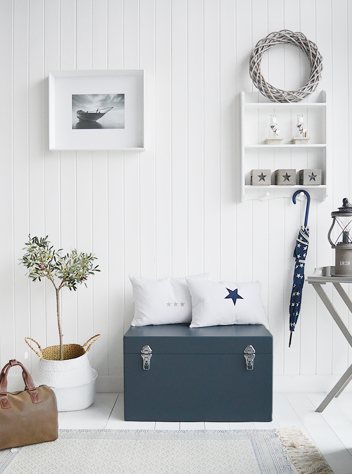 The Newbury storage trunks as hallway benches in square and rectangle £79