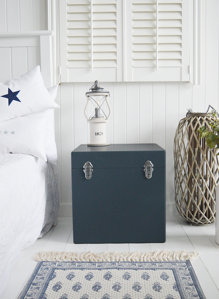 The Newbury Blue Grey trunk is a perfect bedside table for New England country and coastal homes in square or rectangle, the magnificient contrast against the white with this luxury looking piece of furniture... £79