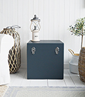 A set of two large different sized Newbury square trunks in a luxurious dark blue grey colour in a matt finish with contrasting silver handles and clasps. The White Lighthouse New England Coastal and Country furniture and interiors. Bathroom, Living Room, Bedroom and Hallway Furniture for beautiful homes for hallway storage seat furniture
