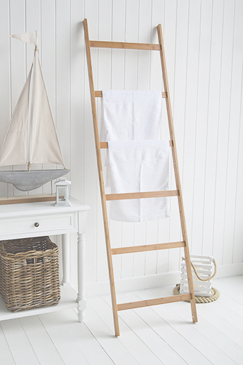 Bamboo Towel Clothes Blanket Ladder Rail From The White