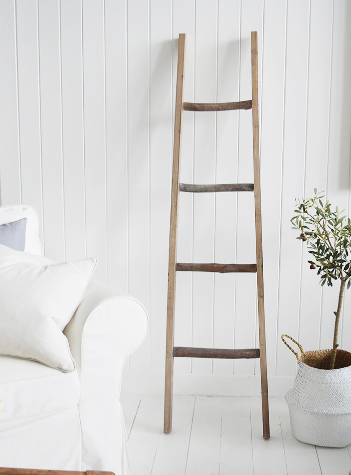 The White Lighthouse New England Country and Coastal Furniture - Decorative Blanket ladder for living room