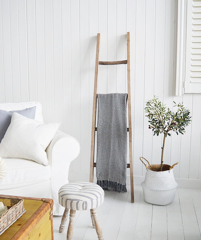 The White Lighthouse New England Country and Coastal Furniture - Decorative wooden Blanket ladder