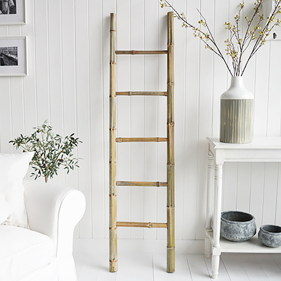 Hudson blanket ladder or clothes stand. White and New England Coastal Country Furniture and accessories for the kitchen. Bathroom, Living Room, Bedroom and Hallway Furniture for beautiful homes