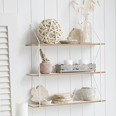 Providence White Wall Shelf with pegs for  coastal New England look furniture