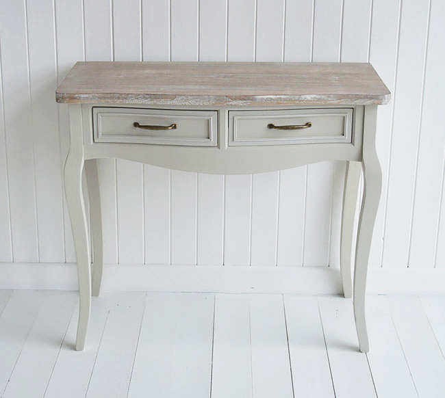 Bridgeport grey dressing table for cottage bedroom interior