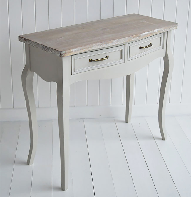Bridgeport grey vanity table for cottage bedroom interiors