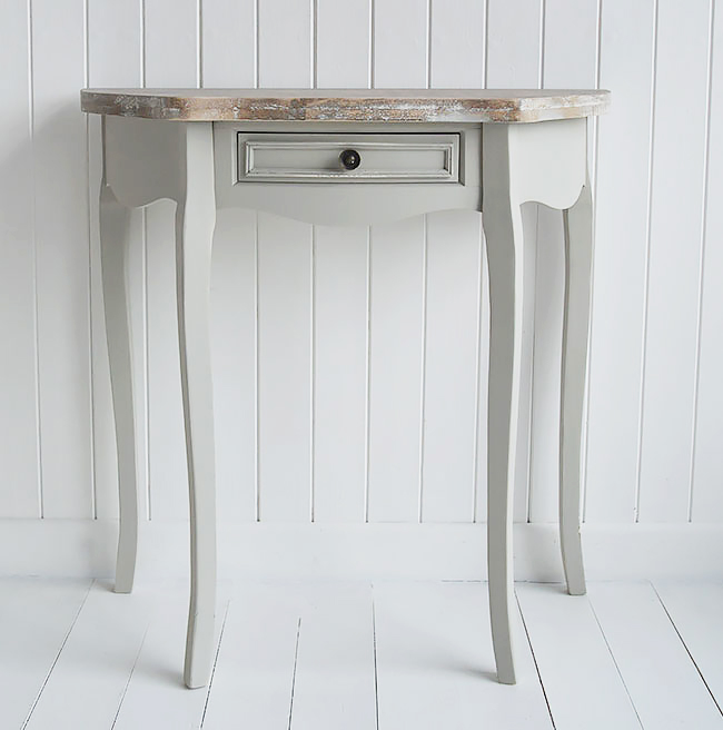Bridgeport Half Moon Grey Console Table