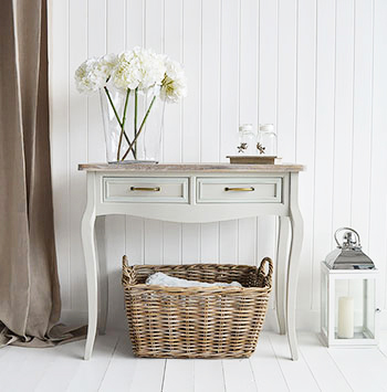 Grey Basket for under grey console table