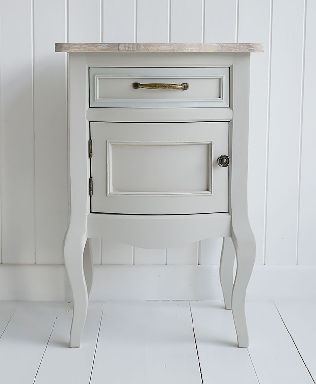 Grey lamp bedside table with a cupboard for bedroom furniture