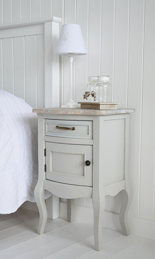 Grey bedside table for cottage and coastal homes