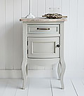 Bridgeport grey lamp table with cupboard