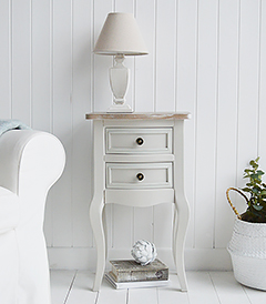 Bridgeport grey lamp table for coastal bedroom furniture